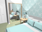 Sophisticated bedroom design for a client's first home.