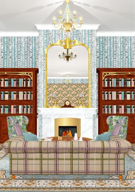 Luxury country hotel styled and decorated with own fabric designs for my collaboration with Blendworth.