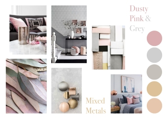 dusty pink and grey