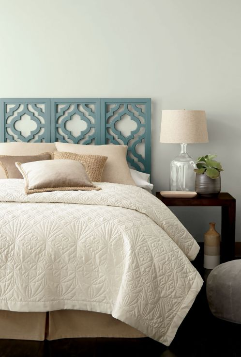 Behr-In-the-MOment-a-blue-green-gray-paint-colour-on-a-painted-bedroom-headboard.-Kylie-M-Interiors-blog.-Photo-via-Behr.
